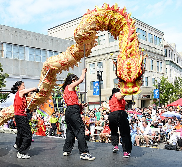 2014 August Moon festival in downtown Quincy, where thousands of Asian immigrants have settled since the 1980s. Courtesy of Robert Bosworth/Quincy Sun.