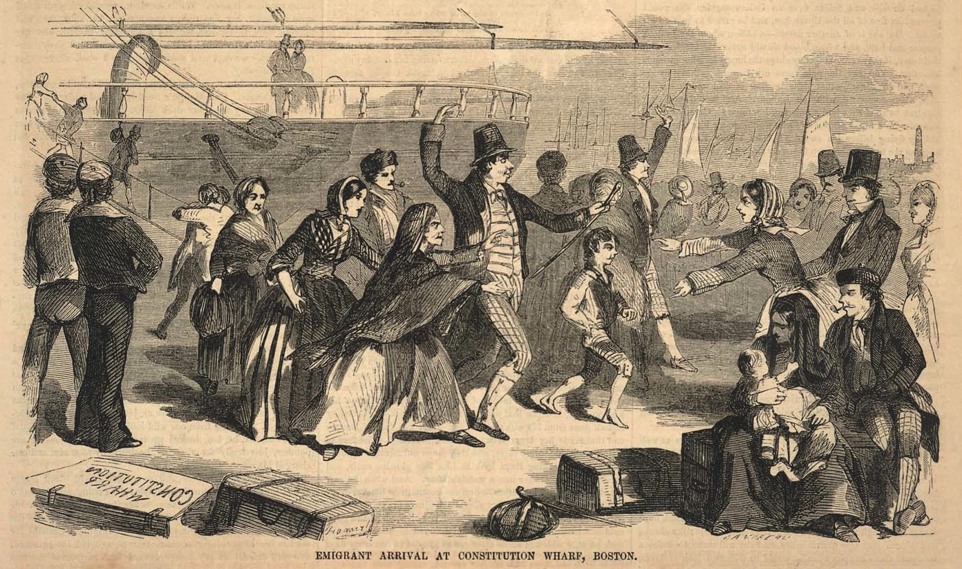 Ballou's Pictorial Drawing Room Companion  Emigrant Arrival At Constitution Wharf, Boston