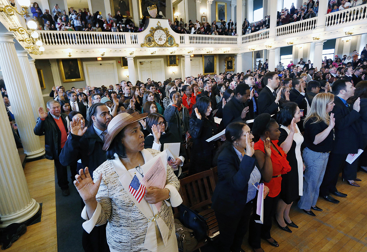 Nearly 400 People From Dozens Of Countries Take The Oath Of Citizenship At A Naturalization Ceremony At Faneuil Hall, 2015