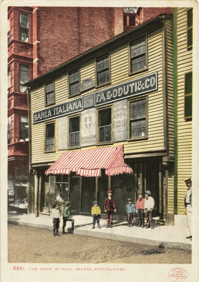 Postcard of Paul Revere's house in the Italian North End, ca. 1900. Courtesy of Trustees of the Boston Public Library.