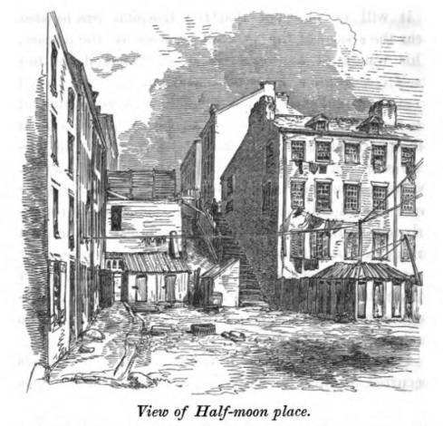 Half-moon Place in Boston's old Fort Hill neighborhood. Sketch of tenements where dozens of Irish immigrants died of cholera in 1849. From: Report of the Committee of Internal Health on the Asiatic Cholera (Boston, 1849).