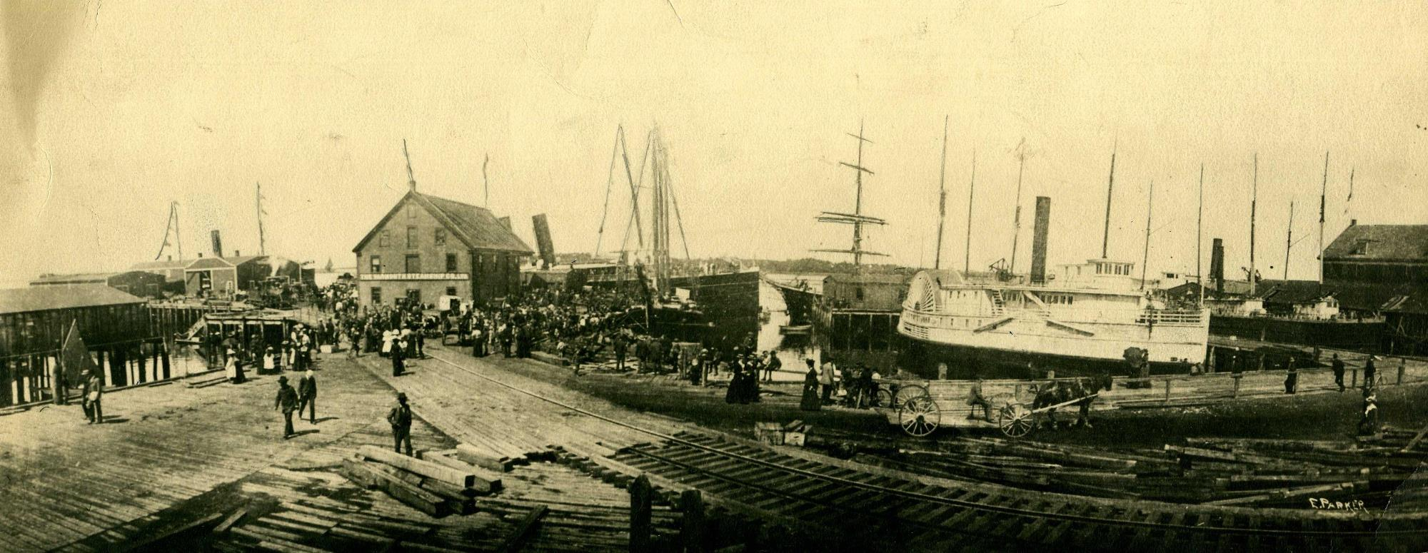 Boston-bound Steamers In Yarmouth Harbor, 1900