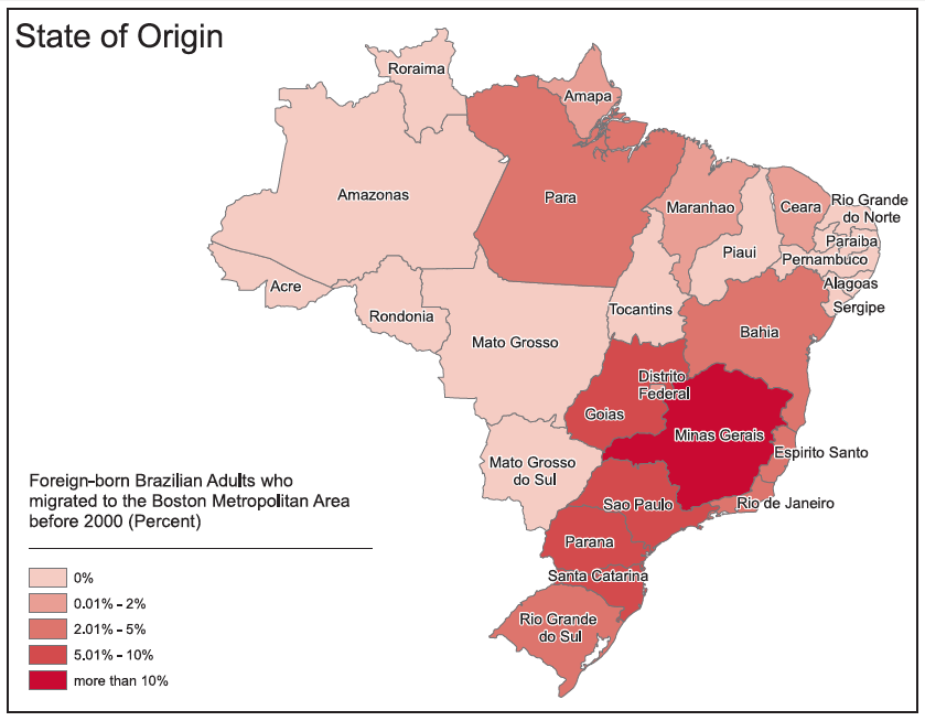 From: Enrico Marcelli, et al., (In)Visible (Im)Migrants: The Health and Socioeconomic Integration of Brazilians in Metropolitan Boston, Center for Behavioral and Community Health Studies, San Diego State University, 2009.