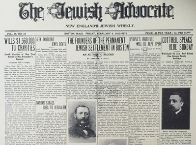 The Jewish Advocate Issue Of February 9, 1912 On The Jewish Settlement In Boston.pdf