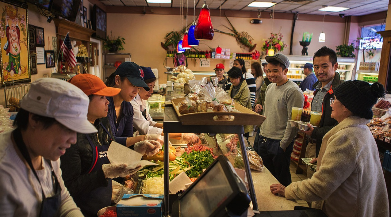 Lunch Time At Banh Mi Be Le, A Vietnamese-owned Shop In Fields Corner, 2015. Jesse Costa/WBUR.