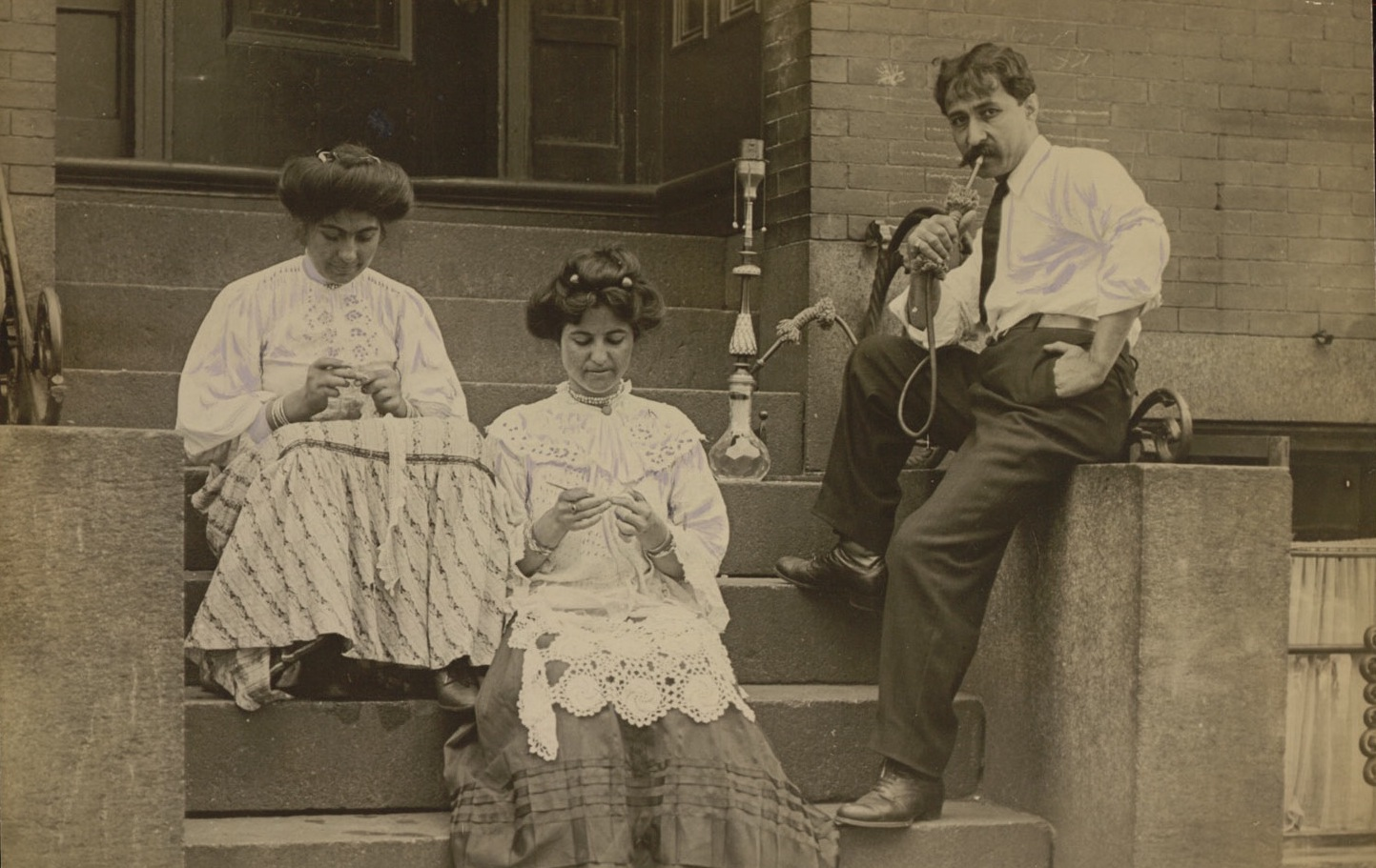 Syrian Immigrants On Hudson Street, Boston 1909. Lace Work Was A Common Occupation Among Syrian Women. Courtesy Of The Trustees Of Boston Public Library.