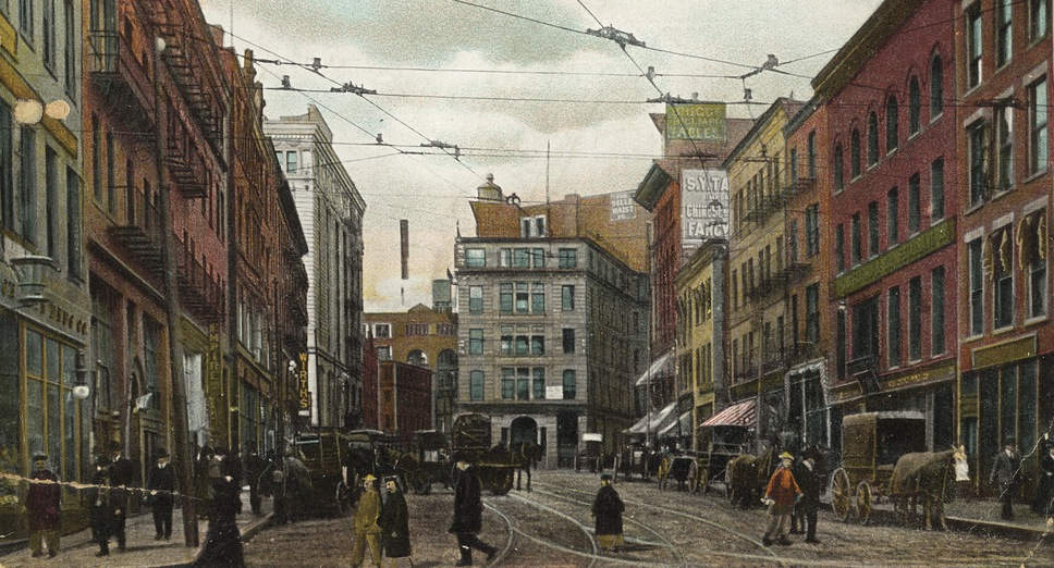 Postcard Of Harrison Avenue In Chinatown, 1910. Courtesy Of The Trustees Of Boston Public Library.