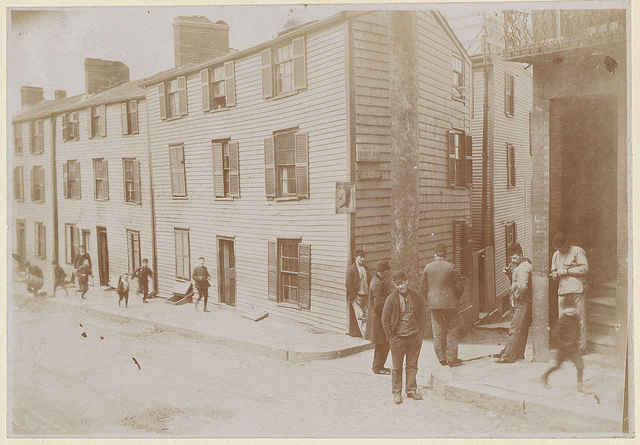 Boarding houses on Lime Alley and Charter Street, ca. 1893. Courtesy of the Trustee of Boston Public Library.