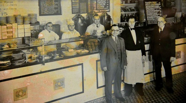 Iva's Lunch on Bennington Street, ca. 1946. On the right is Harry Kaplan, his son Ralph (who started Kappy's Liquors), and an unidentified employee. Courtesy of the Jewish Journal.