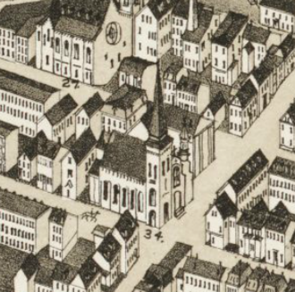 Most Holy Redeemer Church, as shown on an East Boston map from 1879. Courtesy of the Leventhal Map Center, Boston Public Library.