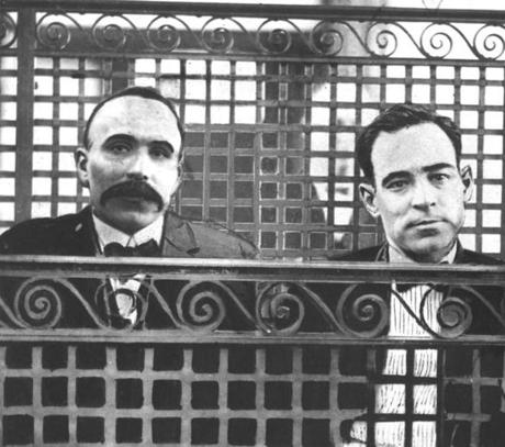 Bartolomeo Vanzetti and Nicola Sacco in the prisoner's dock in Norfolk Superior Court, July 12, 1921. Courtesy of the Boston Globe.
