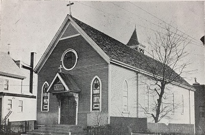 Original chapel of St. Lazarus Church, 121 Leyden Street in East Boston, 1892. Courtesy of the Archdiocese of Boston Archives.