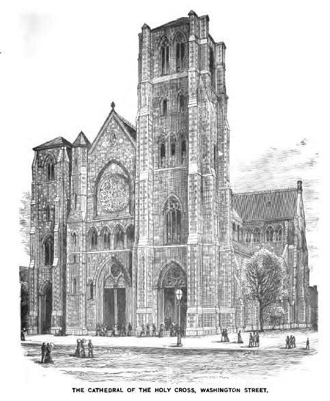 The Cathedral of the Holy Cross on Washington Street was dedicated in 1875 and has served generations of immigrant Catholics in the South End. Illustration from Moses King, King's Handbook of Boston, 1881.