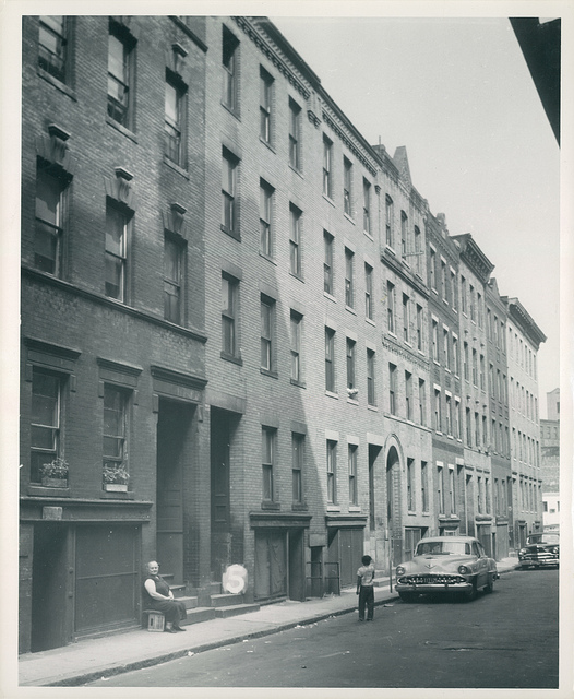 Shown here in the 1950s, just before the area was demolished, the New York Streets was one of the poorer tenement districts of the South End. It housed successive waves of new migrants to the city.