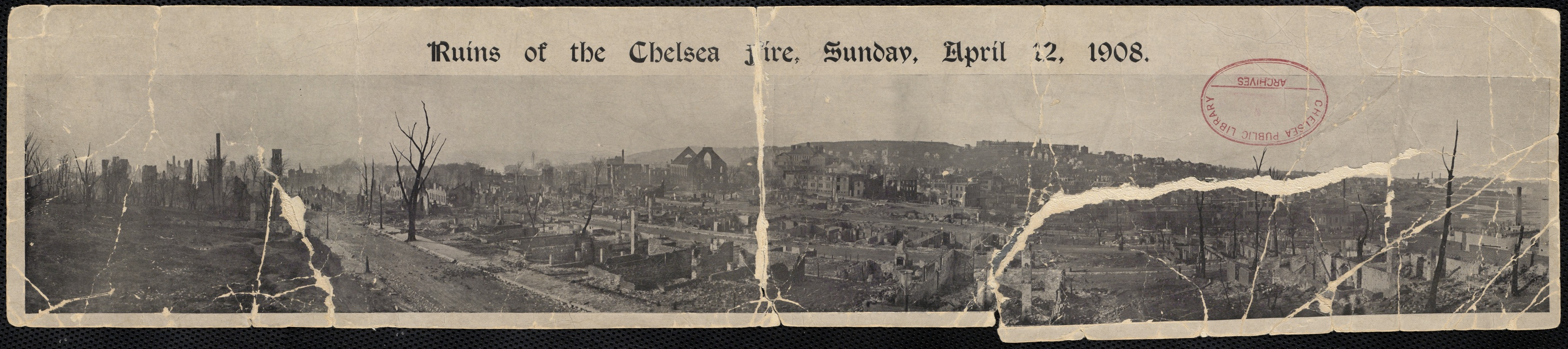 Birds eye view of the ruins of the Chelsea fire, April 12, 1908.