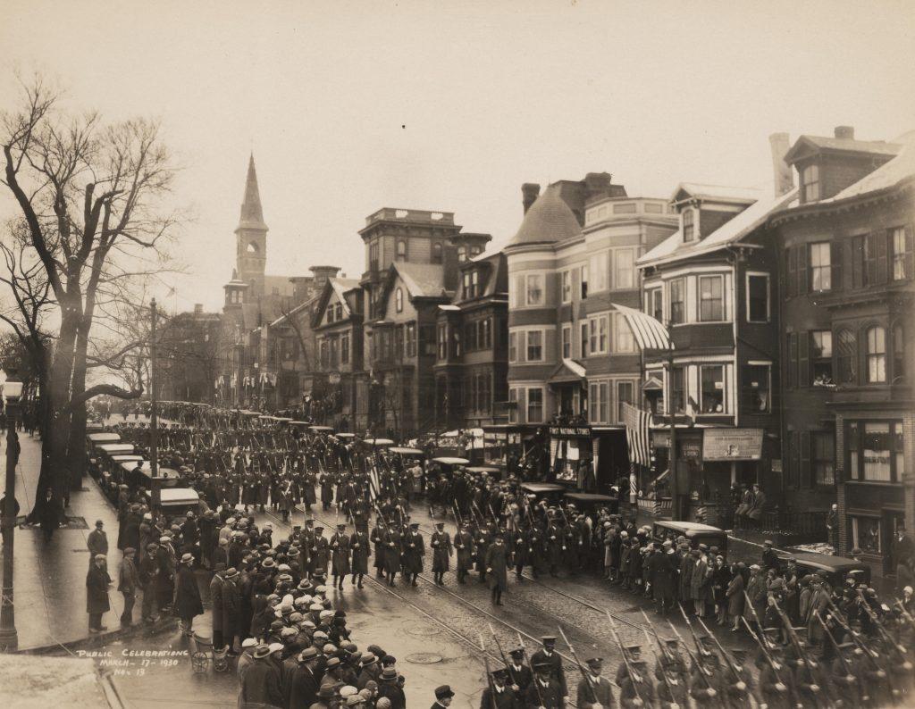 Evacuation Day parade in South Boston, 1930. Courtesy City of Boston Archives.