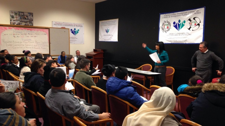 A Know-Your-Rights workshop for immigrants held at the Chelsea Collaborative, 2017. Courtesy of the Chelsea Collaborative.