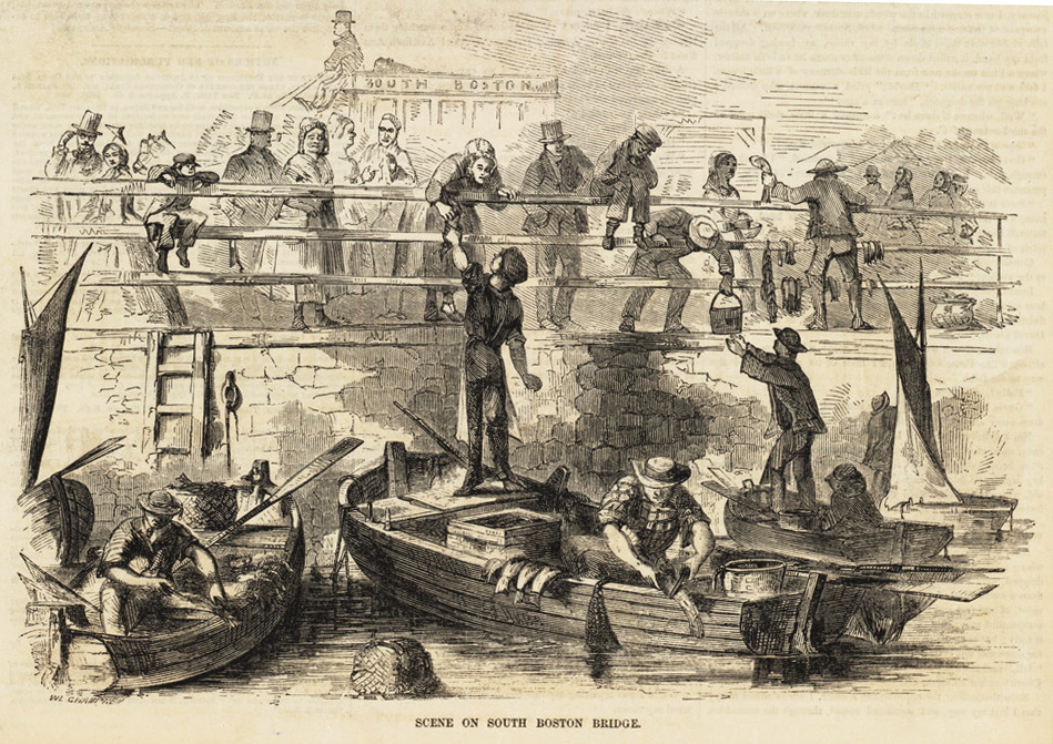 Irish immigrants selling fish at the Dover Street bridge connecting the South End and South Boston. Courtesy of the Trustees of the Boston Public Library.