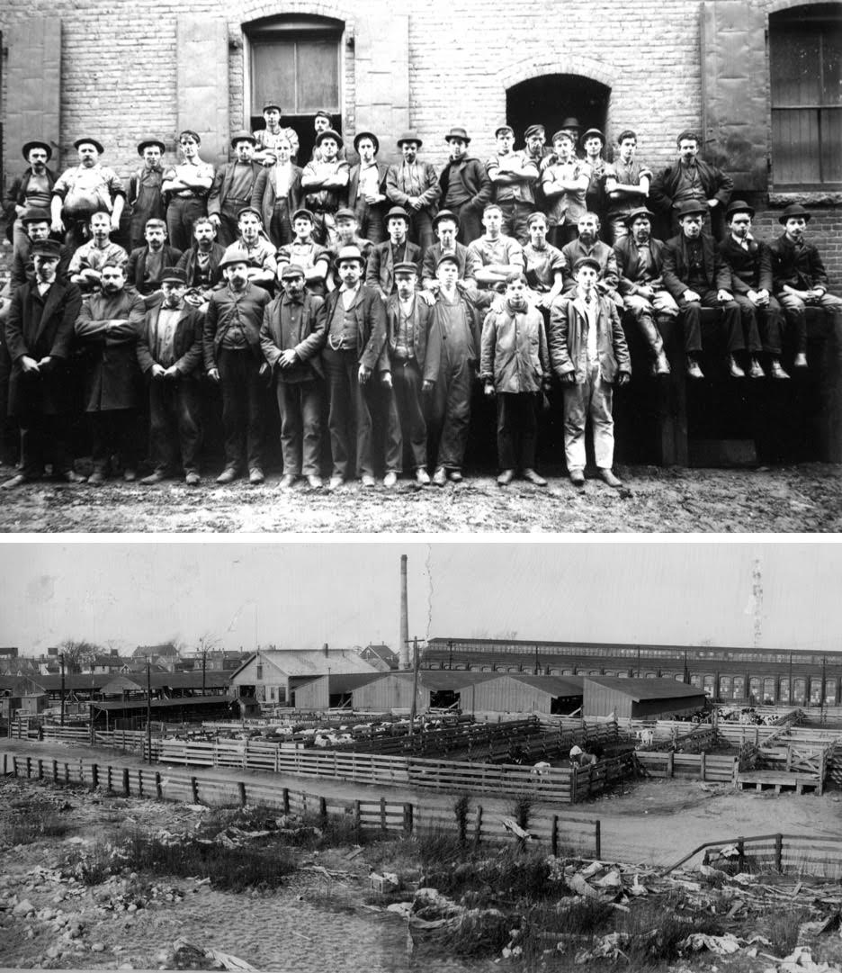 Above: Abattoir workers, undated. Below: The Brighton Stock Yards on North Beacon Street, 1950s.