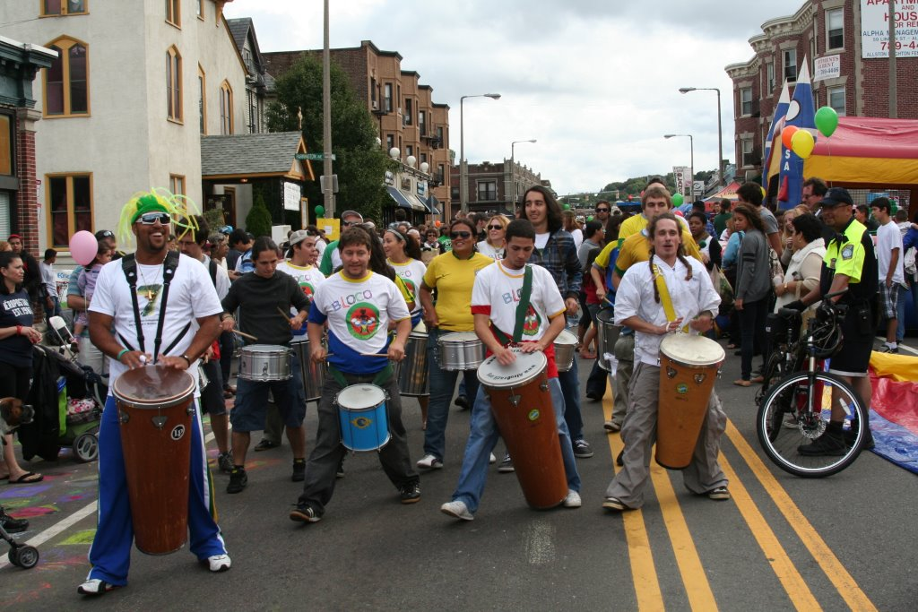 A Brazilian drum band, Bloco AfroBrazil, marches down Harvard Ave. in Allston, 2012.
