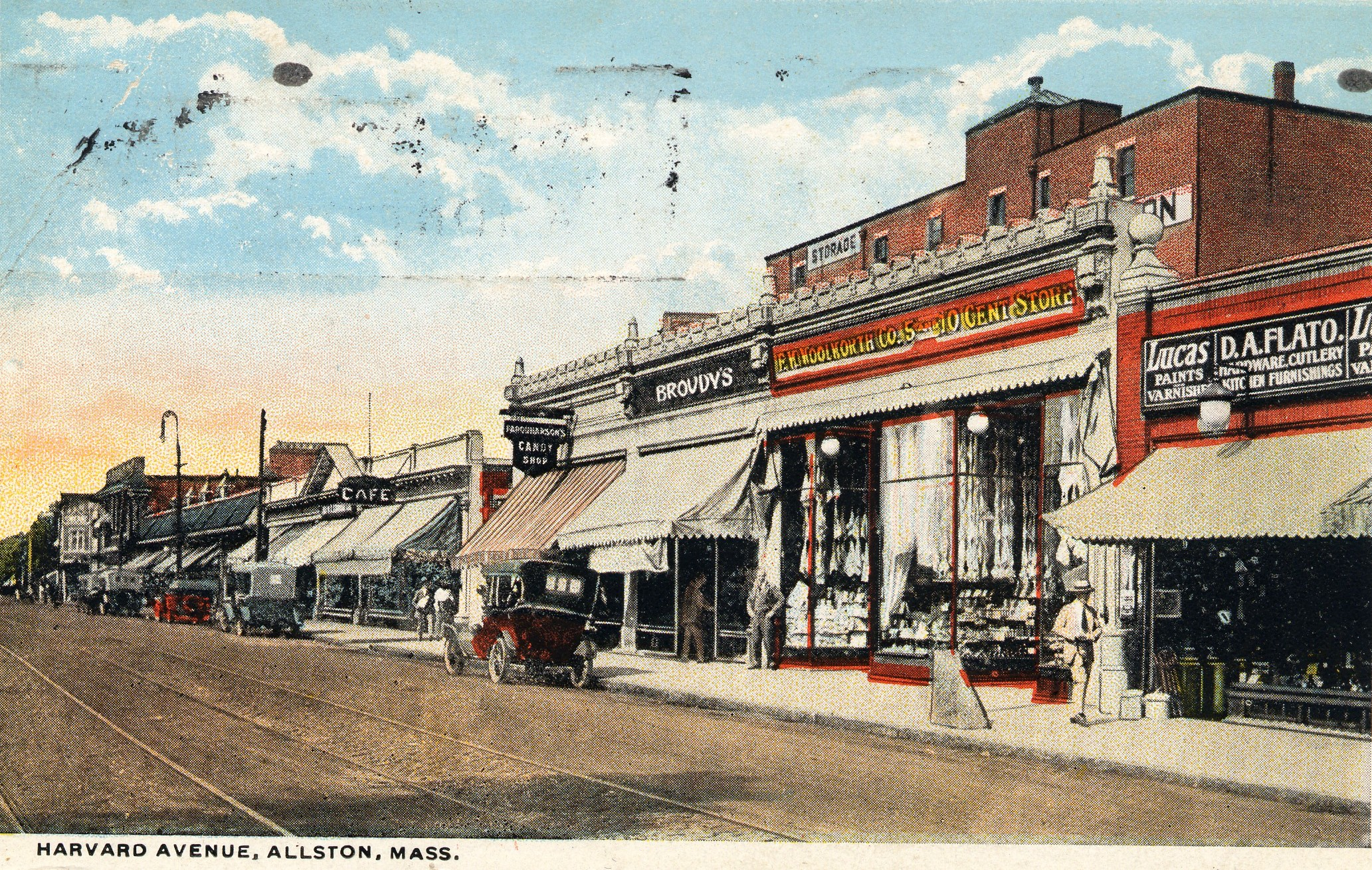Postcard Of Harvard Avenue In Allston Village, Between Commonwealth And Brighton Avenues, 1921. Courtesy Of The Brighton-Allston Historical Society.