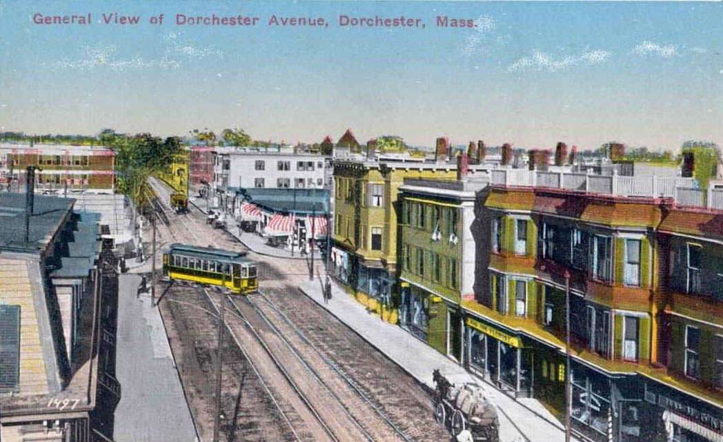 Postcard Of Dorchester Avenue Near Savin Hill Avenue, Ca. 1913.