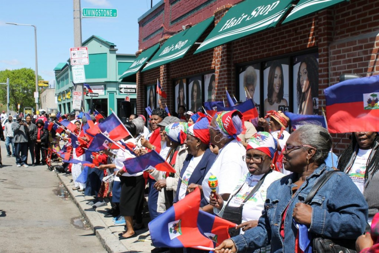 Haitians in Dorchester awaiting the Haitian Flag Day Parade, 2016.
