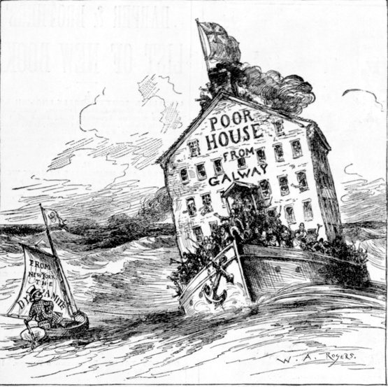 "This Harper's Magazine cartoon from 1883 suggests that British authorities were emptying the poor houses of Ireland and dumping Irish ""paupers"" in Boston and other US cities."