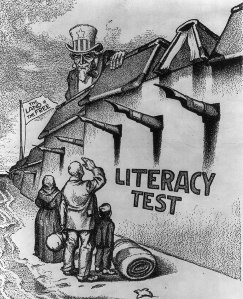 The Boston-based Immigration Restriction League was a key promoter of the 1917 law requiring immigrants to pass a literacy test before entering. This 1916 cartoon shows the literacy bill as a wall built to keep out undesirable immigrants. Courtesy Library of Congress, Prints and Photographs Division.