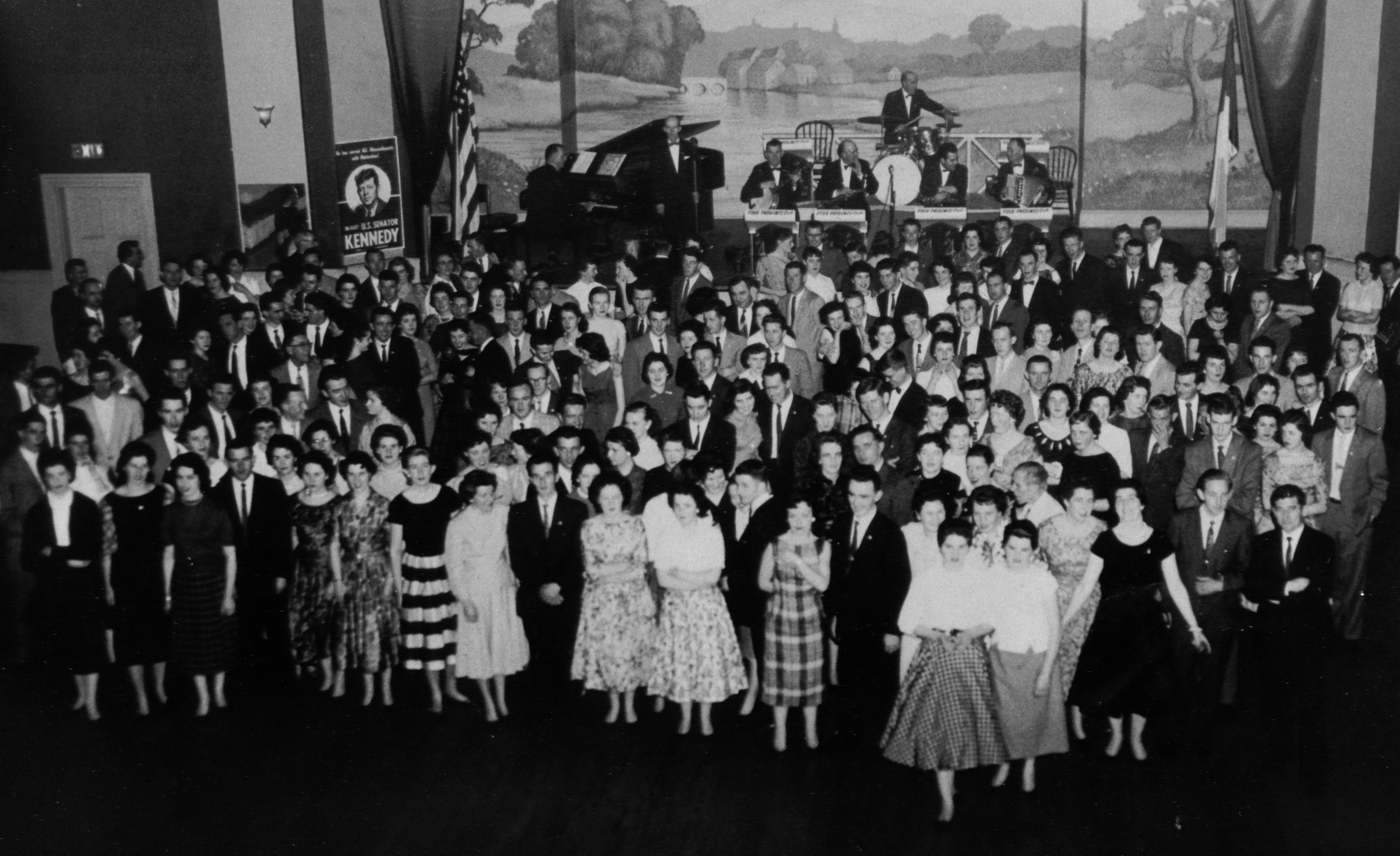 This 1957 dance at the Intercolonial Crystal Ballroom was a fundraiser for John F. Kennedy's senatorial race. The Four Provinces Orchestra is on stage.