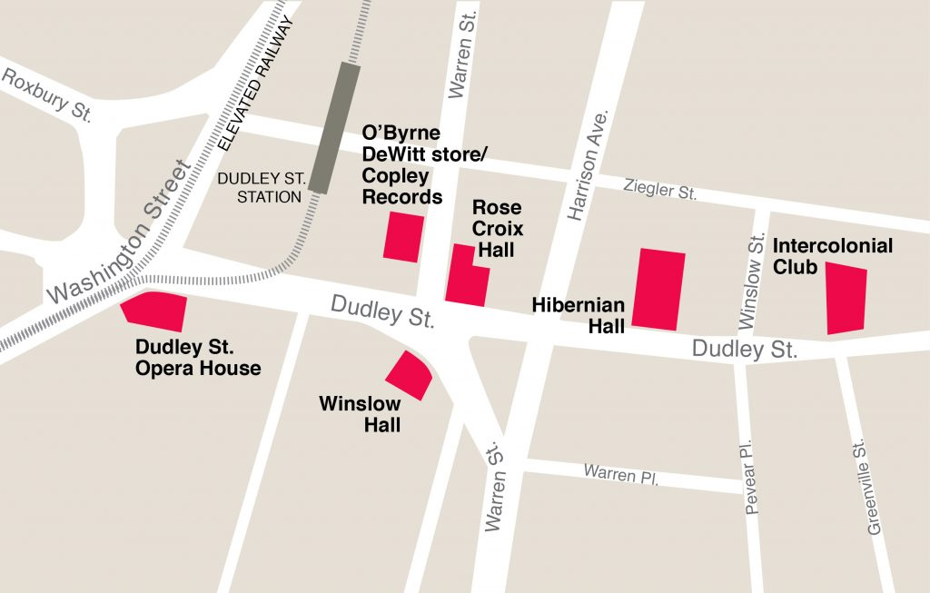 Map of the Dudley Street dance halls ca. 1940.