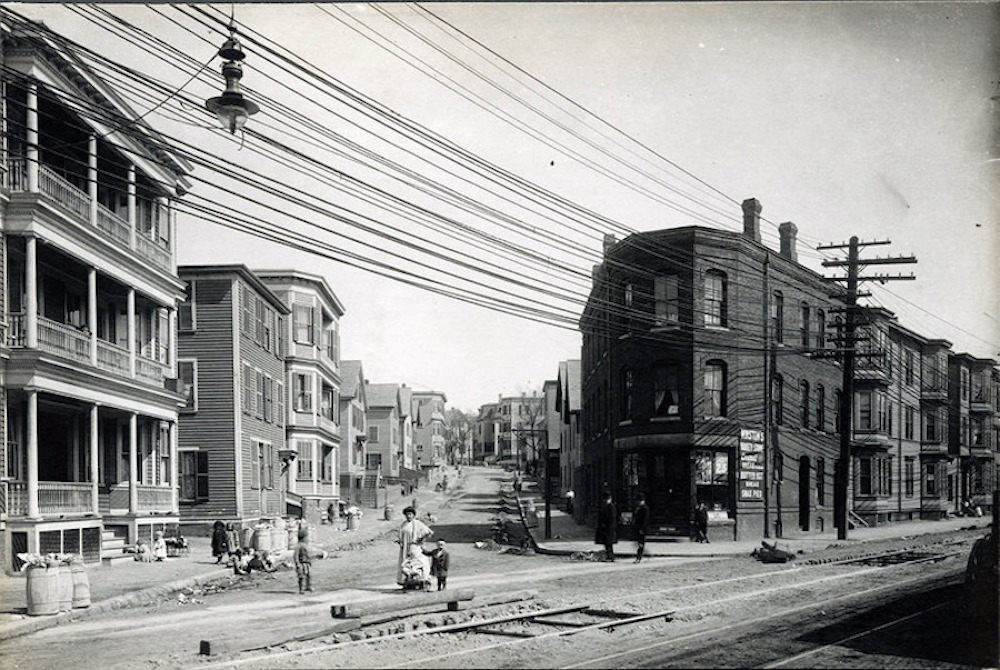 Immigrant Neighborhood In Downtown Lynn, Looking Up Amity Street From Washington Street, Ca 1900. Courtesy Of Lynn Public Library.