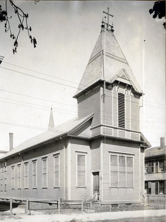 Many Greek immigrants first settled around St. George Orthodox Church on Pleasant Street in the Brickyard. In 1954, the church completed a new building a few blocks away on the Common. Courtesy Lynn Public Library.