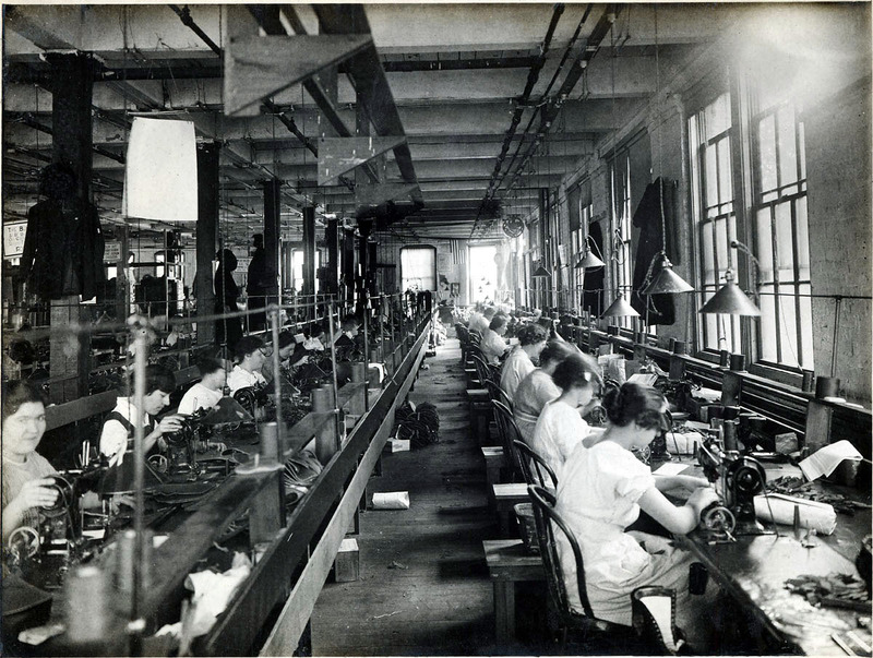 Women stitchers at work at A.E. Little and Company, a shoe manufacturer located at 70 Blake Street in downtown Lynn, ca 1910s. Courtesy Lynn Public Library.